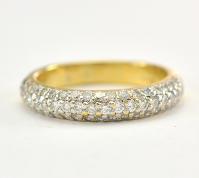 14K Yellow Gold 3.40 Grams 0.74 Carat t.w. Diamond Pave Set Lady's Ring