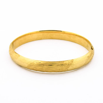 14K Yellow Gold 7.90 Grams Bangle Bracelet With Engraving