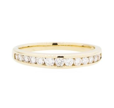 14K Yellow Gold 2.80 Grams Channel Set Round Diamond Band