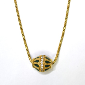 21K Yellow Gold 11.00 Grams Diamond Pendant Slider With Chain Necklace