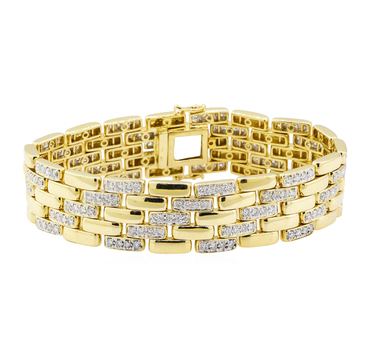 18K Yellow Gold 68.90 Grams Pave Set Round Diamond Link Style Bracelet