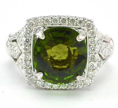 18K White Gold 9.60 Grams 1.00 Carat t.w Diamond Lady's Ring With 4.79 Carats Green Tourmaline Center Stone