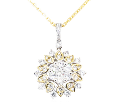 18K Two Tone Gold 4.10 Grams 1.16 Carats Round Diamond Pendant With Gold Chain Necklace