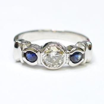 14K White Gold 5.60 Grams Sapphire and Diamond Three Stone Style Ring
