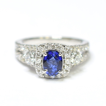 18K White Gold 6.00 Grams Cushion Halo Style Split Shank Diamond Ring With Tanzanite Center Stone