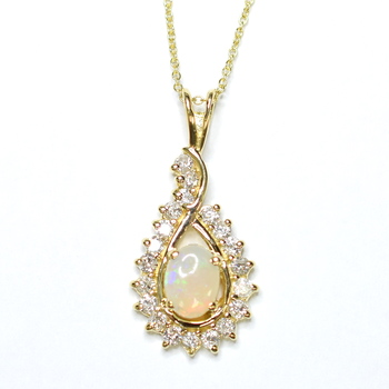 14K Yellow Gold 4.45 Grams Opal and Diamond Pear Shape Pendant With Gold Chain