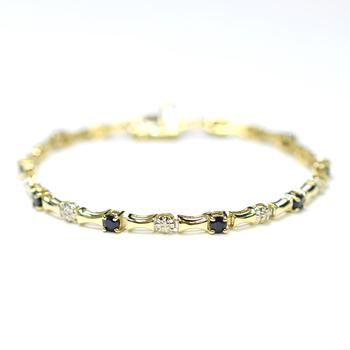 10K Yellow Gold 5.70 Grams Sapphire and Diamond Bracelet