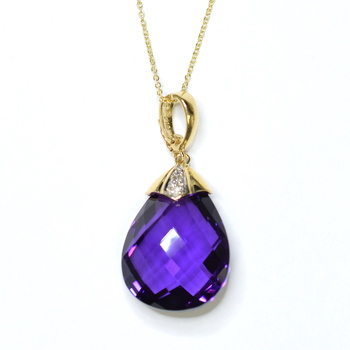 14K Yellow Gold 7.70 Grams Faceted Pear Shape Amethyst and Diamond Pendant With Gold Chain