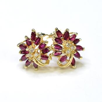 14K Yellow Gold 8.20 Grams Ruby and Diamond Flower Design Earrings