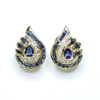 14K Yellow Gold 6.68 Grams Sapphire and Diamond Lever Back Earrings