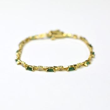 14K Yellow Gold 7.30 Grams Emerald and Diamond Bracelet