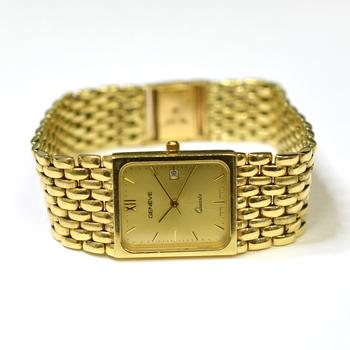 Geneve Quartz 14K Yellow Gold Gold Dial Link Chain Bracelet Watch