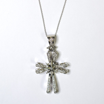 14K White Gold 24.19 Grams 1.32 Carats t.w. Round Diamond Cross Pendant With Gold Chain