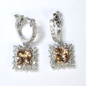 14K White Gold 5.30 Grams Square Halo Style Diamond Dangle Earrings With Morganite Center Stone