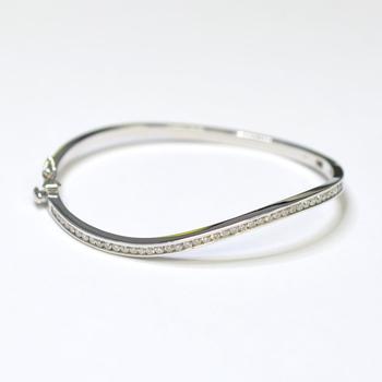 14K White Gold 14.80 Grams Diamond Bangle Bracelet