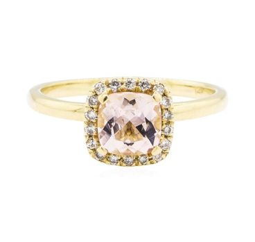 14K Yellow Gold 2.40 Grams 0.13 Carats t.w. Round Diamond Square Halo Style Ring With Cushion Cut Morganite Center Stone