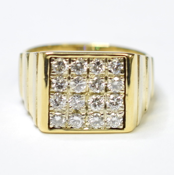 14K Yellow Gold 17.00 Grams 2.00 Carats t.w. Round Diamond Square Top Men's Ring