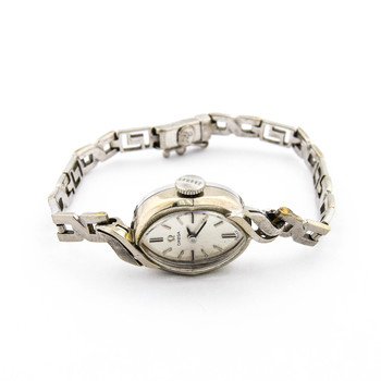 Omega 14K White Gold 14.50 Grams Silver Dial Vintage Watch on Link Chain Bracelet