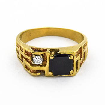 14K Yellow Gold 7.35 Grams Onyx and Diamond Men's Ring