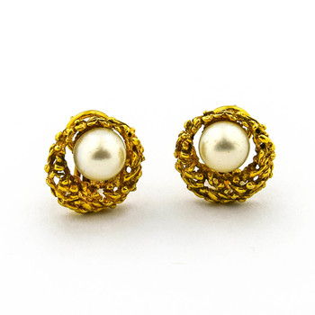 14K Yellow Gold 9.00 Grams Lady's Pearl Earrings