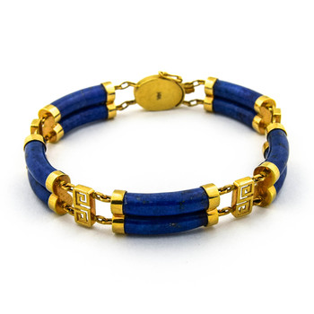 14K Yellow Gold 22.25 Grams Lapis Link Chain Style Bracelet