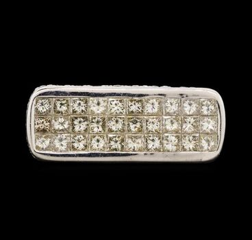 18K White Gold Princess Cut & Round Diamond Ring