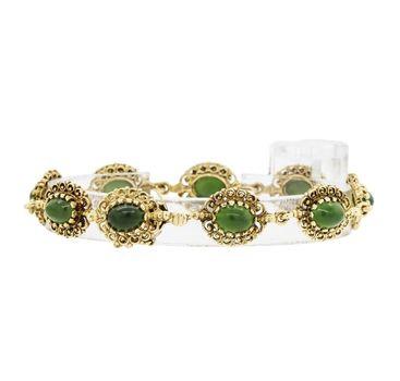 14K Yellow Gold 17.33 Grams Oval Shape Jade Vintage Bracelet