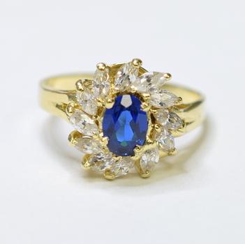 14K Yellow Gold 4.22 Grams Sapphire and Diamond Ring