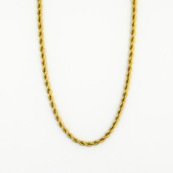 14K Yellow Gold 22.00 Grams Rope Chain Style Necklace