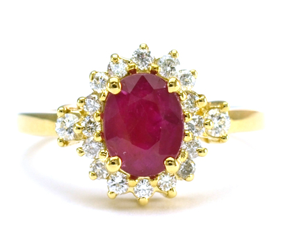 14K Yellow Gold 4.05 Grams Ruby and Diamond Halo Style Lady's Ring
