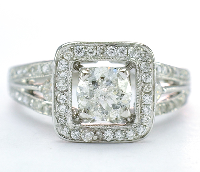 18K White Gold 4.70 Grams 1.58 Carats t.w. Diamond Square Halo Style Lady's Ring