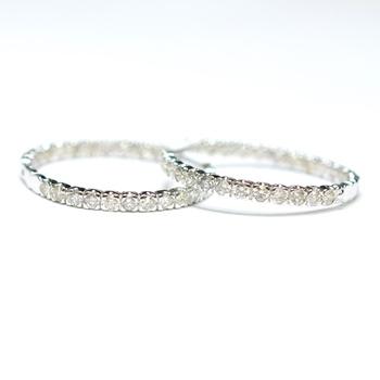 18K White Gold 7.70 Grams Inside Out Style Diamond Hoop Earrings