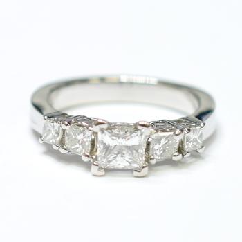 Platinum 7.35 Grams Princess Cut Diamond Five Stone Style Ring