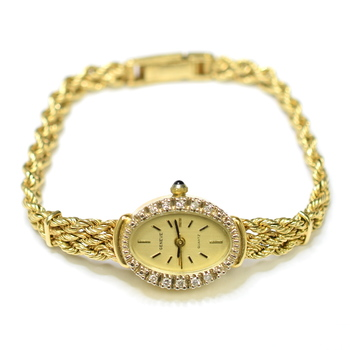 Geneve 14K Yellow Gold 19.52 Grams Gold Dial Diamond Braided Style Bracelet Watch