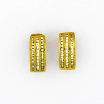 18K Yellow Gold 9.40 Grams Princess and Round Diamond Huggie Earrings