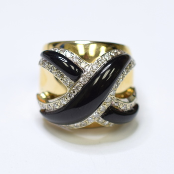 14K Yellow Gold 19.75 Grams Onyx and Diamond High Polished Ring