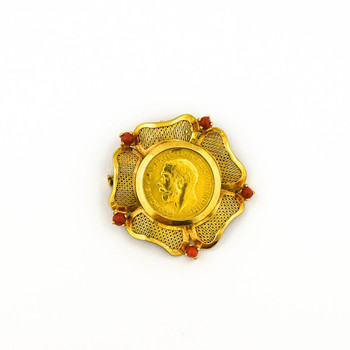 21K Yellow Gold 21.65 Grams Coral Flower Design Halo Style Coin Brooch/Pendant