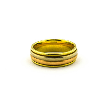 14K Tri - Color Gold 9.92 Grams Mens Band