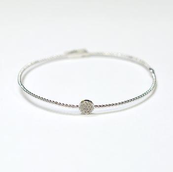 14K White Gold 4.25 Grams Diamond Beaded Style Bangle Bracelet