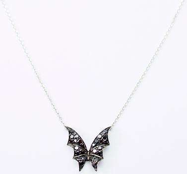 14K White Gold 2.71 Grams Black Diamond Bat Design Pendant With Gold Chain