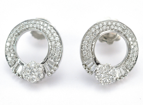 18K White Gold 4.70 Grams 1.58 Carats t.w. Lady's Earrings