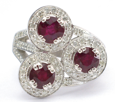 14K White Gold 8.90 Grams Ruby and Diamond Cocktail Ring