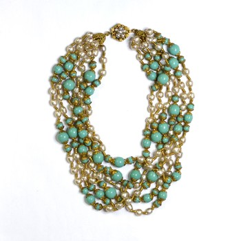 Miriam Haskell Multi - Strand Pearl and Turquoise Necklace
