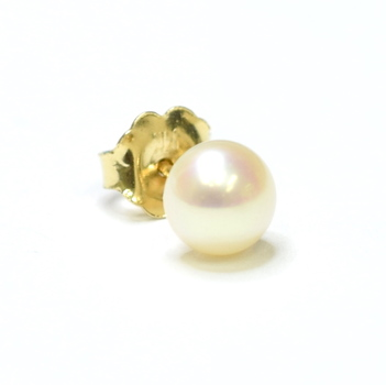 10K Yellow Gold Fresh Water Pearl Stud Style One Piece Earring