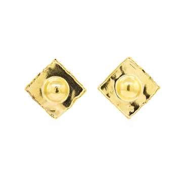 22K Yellow Gold 13.40 Grams Square Style High Polished Earrings