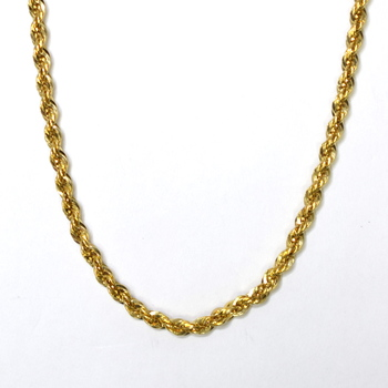 14K Yellow Gold 10.50 Grams Rope Design Chain Necklace