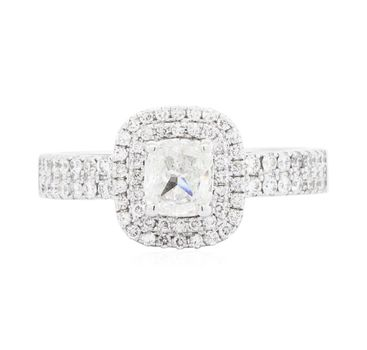 14K White Gold 7.60 Grams 1.45 Carats t.w. Two Tier Halo Diamond Ring