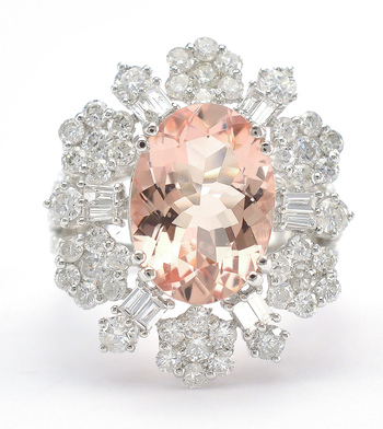 18K White Gold 8.10 Grams 2.82 Carats t.w. Flower Design Halo Style Ring With 5.15 Carats Natural Morganite Center Stone