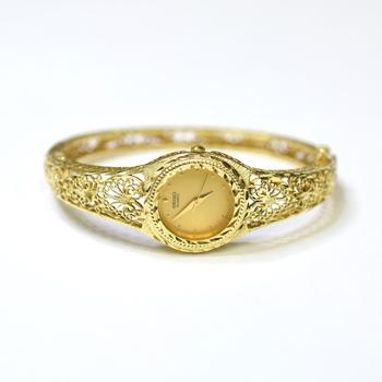 Seiko 14K Yellow Gold 24.70 Grams Diamond Cut Design Bangle Watch