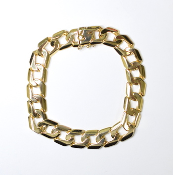 14K Yellow Gold 50.00 Grams Link Chain High Polished Bracelet